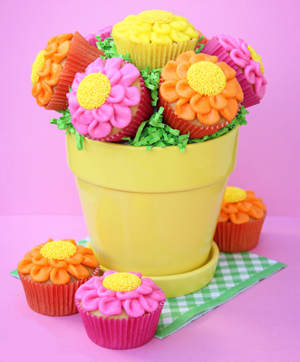 Vaso de Flores de Cupcakes