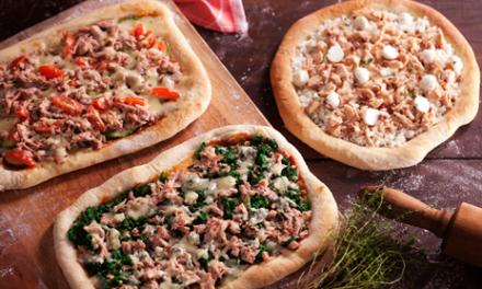 Pizza Quadrada de Salmão com Queijo de Cabra e Ricota